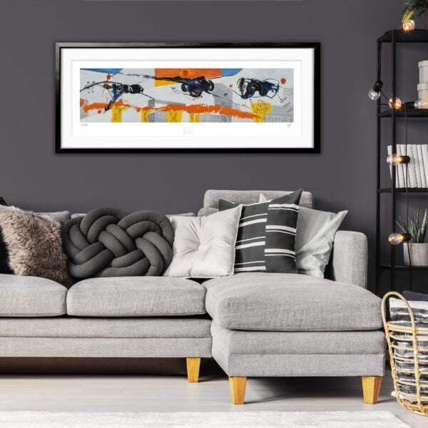 Grey and black pillows on comfortable corner sofa in fashionable